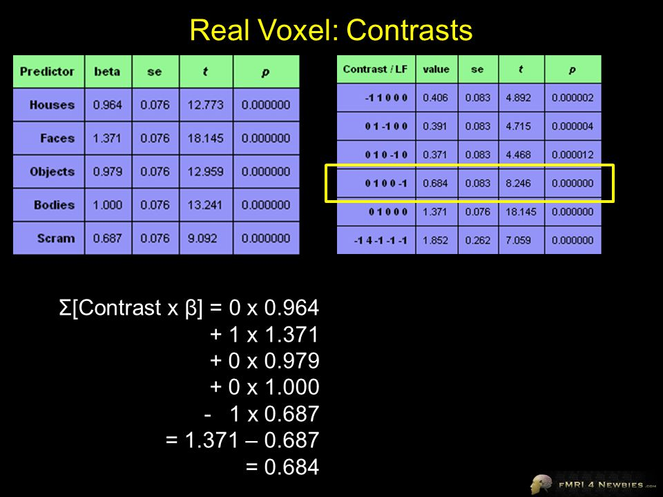 Real Voxel: Contrasts Σ[Contrast x β] = 0 x 0.964 + 1 x 1.371